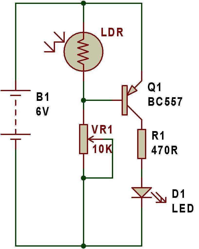 Dark Sensor Using Bc557 Buildcircuit Electronics Tutorial Switches And Relays Electronic Circuits Diagram As