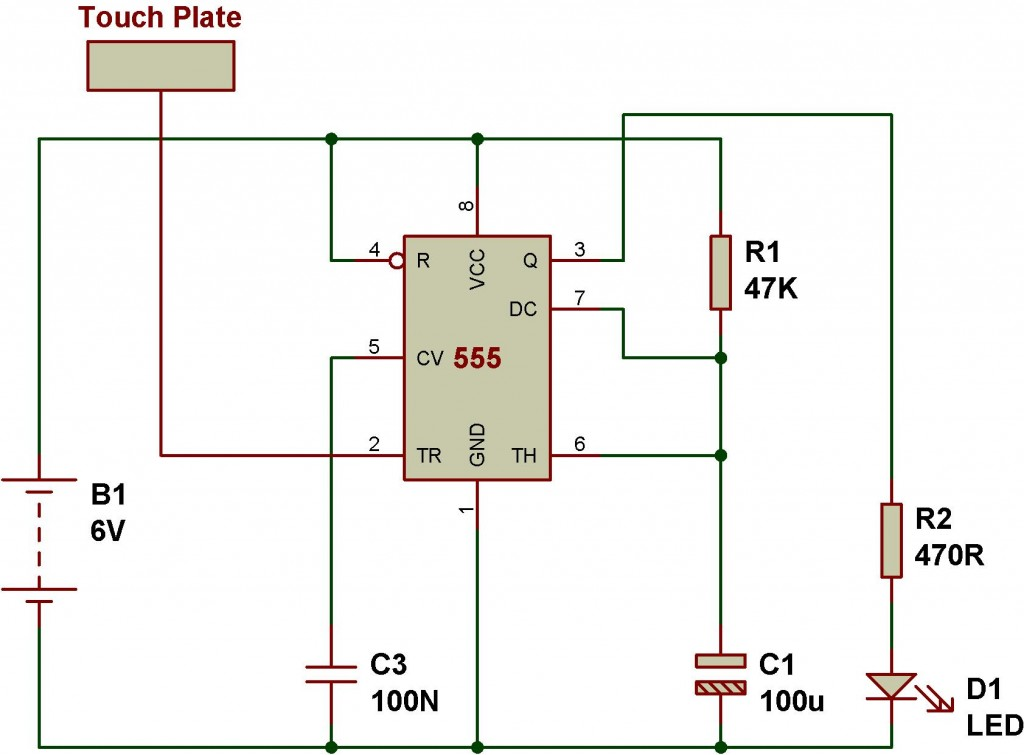 mode of ne555 monostable buildcircuit electronics Touch Lamp Switch Replacement 555 on off touch switch